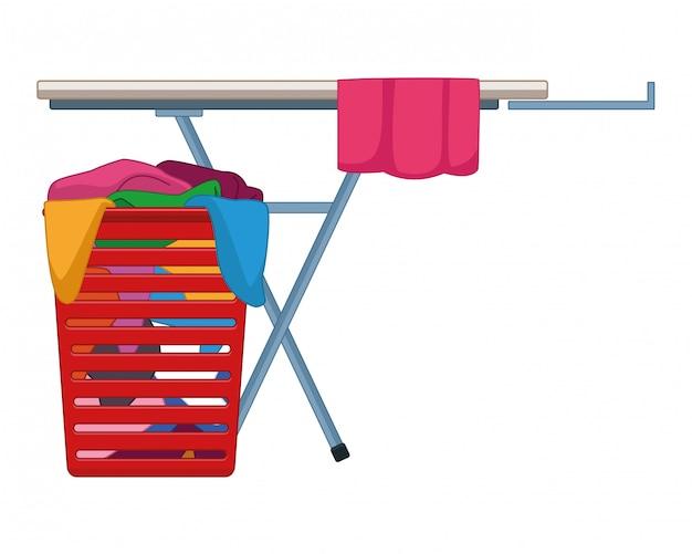 Wasgoed en schoonmaakaccessoires Premium Vector