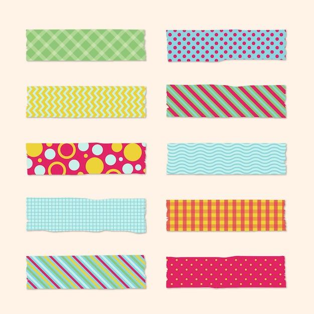 Washi tape collectie ontwerp Gratis Vector