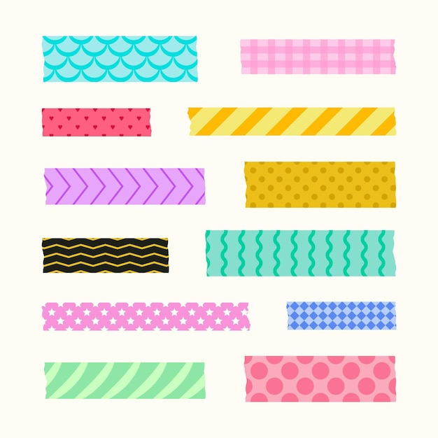 Washi tape collectie stijl Gratis Vector