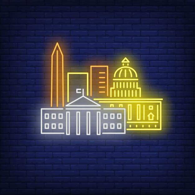Washington dc gebouwen neon teken. attractie, toerisme, reizen. Gratis Vector