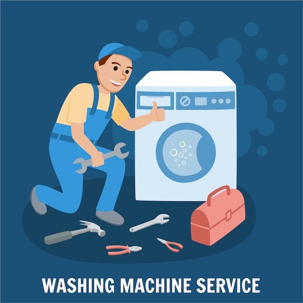 Wasmachine-service Premium Vector