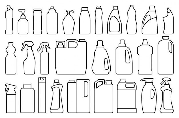 Wasmiddel van product in lijnstijl ingesteld pictogram. Premium Vector