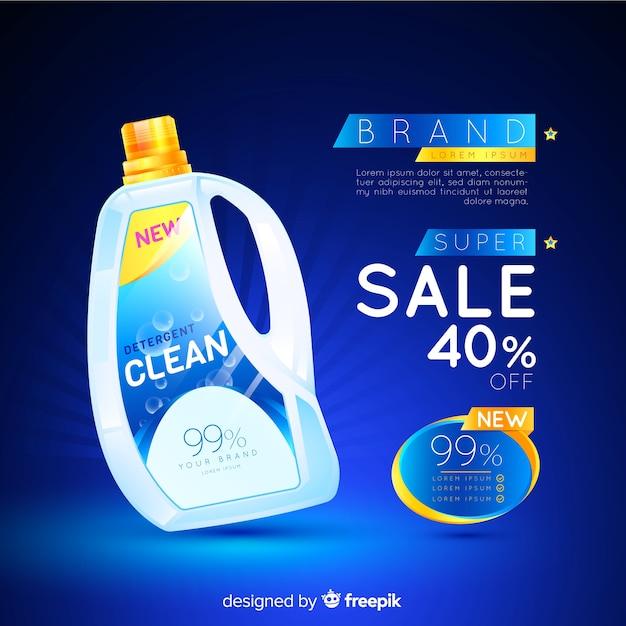 Wasmiddel verkoop realistische advertentie Gratis Vector