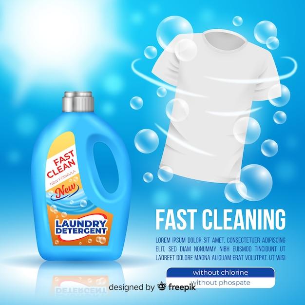 Wasmiddelreclame met een realistisch ontwerp Gratis Vector