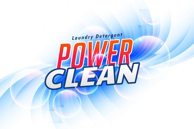 Wasmiddelverpakking voor power clean Gratis Vector