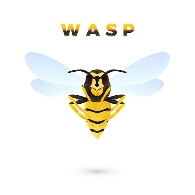 Wasp cartoon afbeelding geïsoleerd op een witte achtergrond Premium Vector