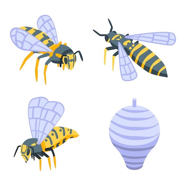 Wasp set, isometrische stijl Premium Vector