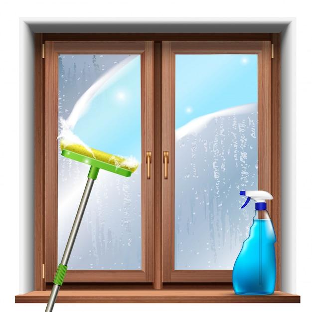 Wassen van de ramen, met dweil en spuitproduct. Premium Vector