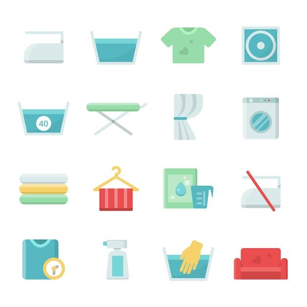 Wasserij icon set voor was en wassen Premium Vector