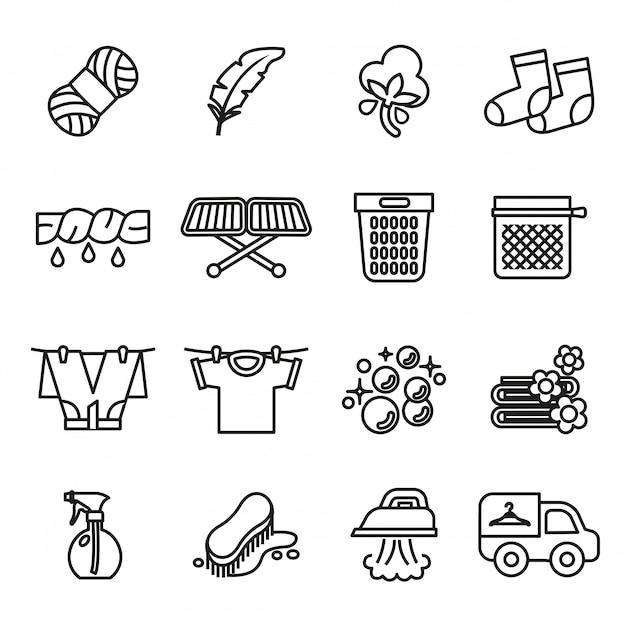 Wasserij pictogrammen. huishoudelijk werk pictogrammen Premium Vector
