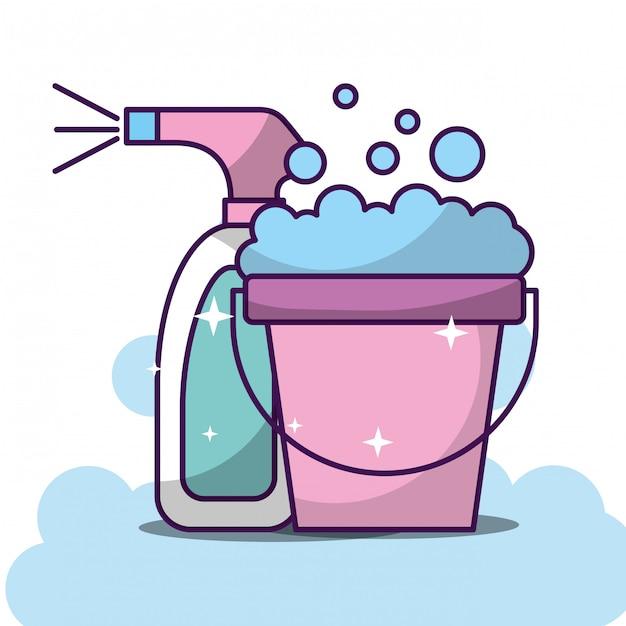 Wasserij schoonmaak gerelateerd Premium Vector