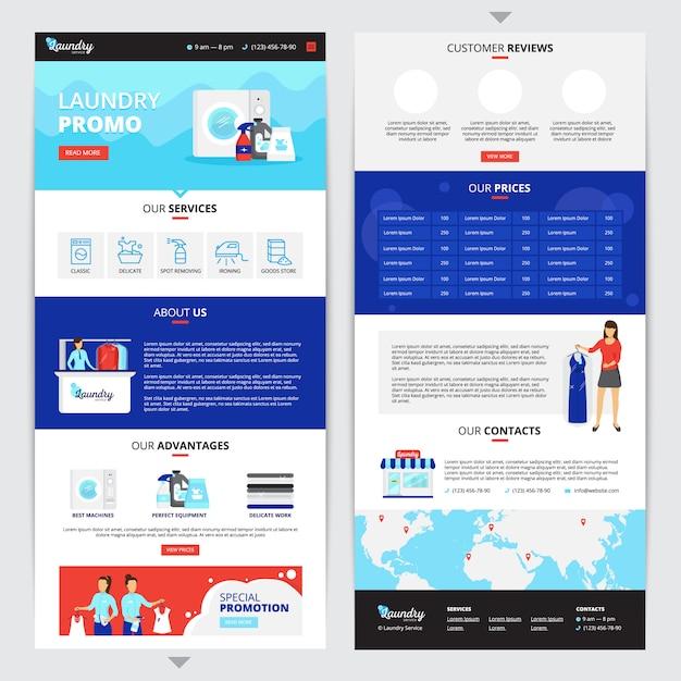 Wasserij verticale webpagina set met prijzen en contacten symbolen Gratis Vector