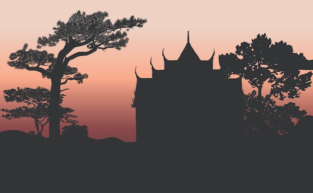 Wat benjamabhopit silhouet vector ontwerp Gratis Vector