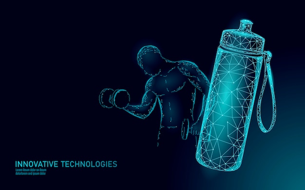 Water aquafles atleet rehydratatie concept. gezondheidszorg tegen uitdroging isotone elektrolytendrank. halter training sterke man fitness gym oefening. illustratie. Premium Vector