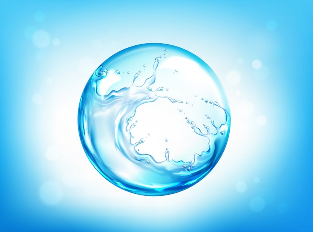 Water bespattend gebied op blauwe hemel Gratis Vector