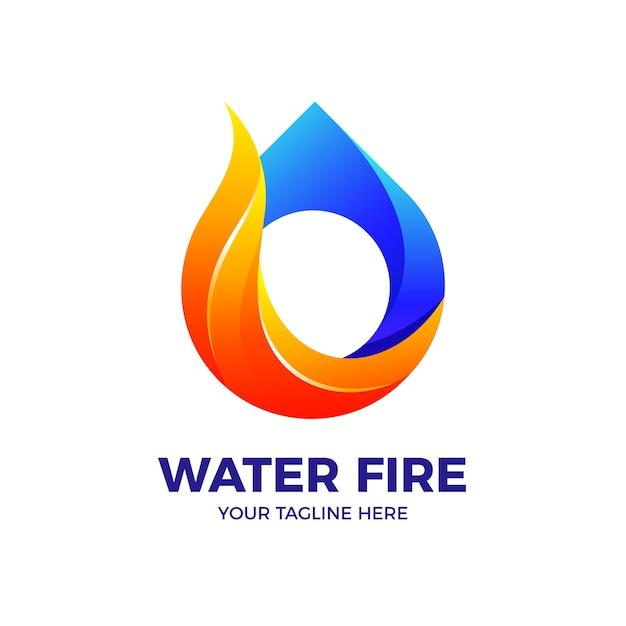 Water drop fire flame 3d-kleurovergang logo vector sjabloon Premium Vector