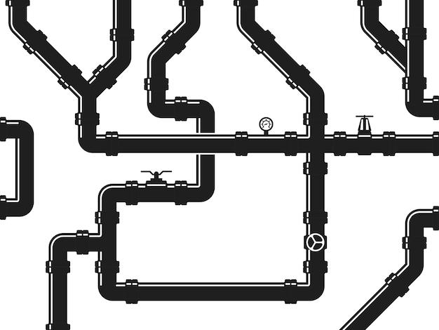 Water- of gasleiding, sanitair met kleppen en pijpfittingen. abstract industrieel Premium Vector
