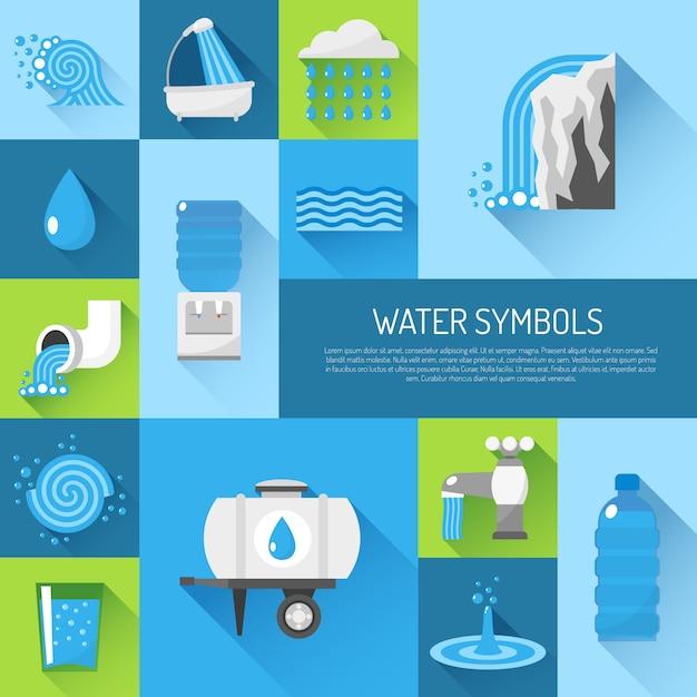 Water plat ingesteld Gratis Vector