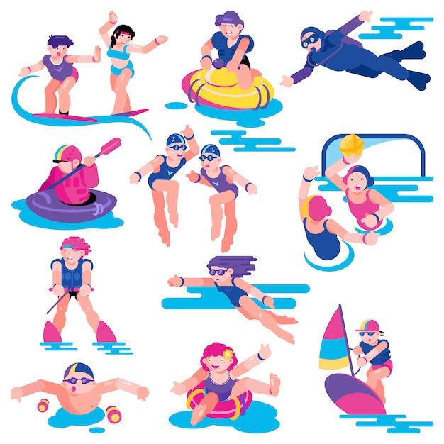 Water sport vector mensen karakter op vakantie surfen op surfplank illustratie set Premium Vector