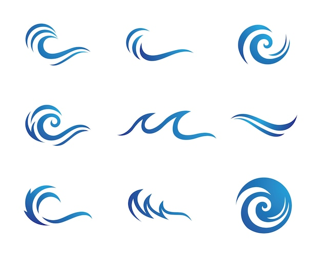 Water wave logo sjabloon Premium Vector