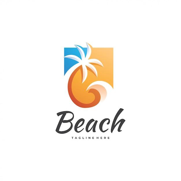 Water wave palm tree-logo Premium Vector