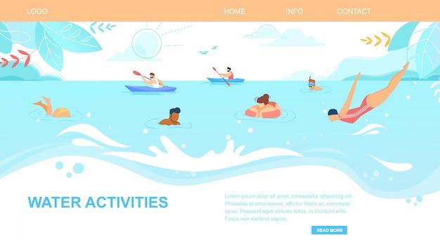 Wateractiviteiten horizontale banner, mensen genieten van zomertijd Premium Vector