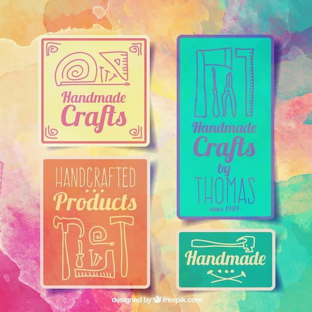 Watercolor badges voor ambachten Gratis Vector
