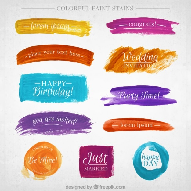 Watercolor banner collectie Premium Vector