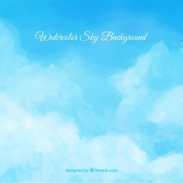 Watercolor bewolkte hemel achtergrond Premium Vector