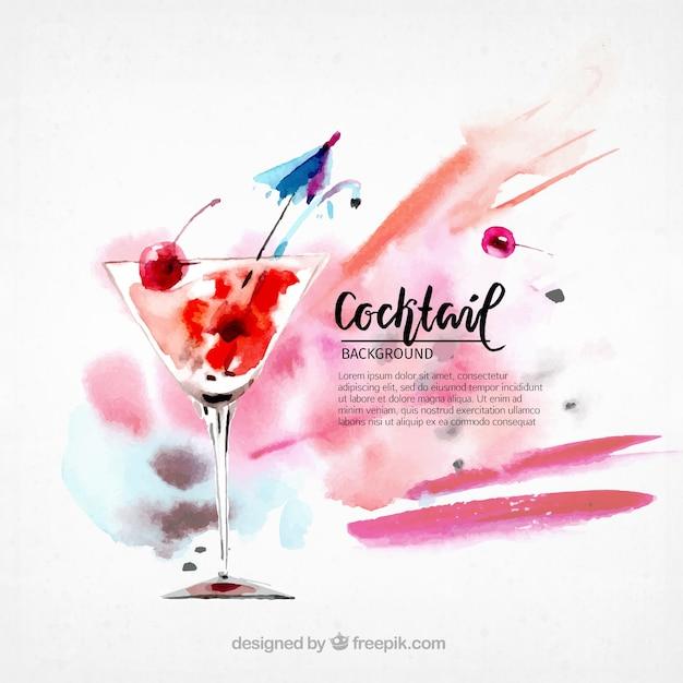 Watercolor cocktail achtergrond Gratis Vector