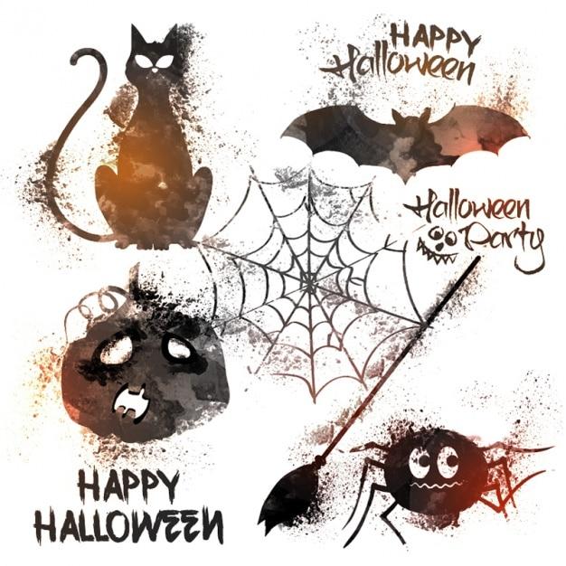 Halloween Artikelen.Watercolor Collectie Van Verschillende Halloween Artikelen