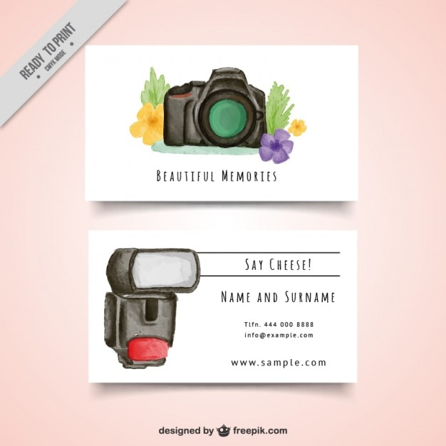 Watercolor fotografie kaart met camera Gratis Vector
