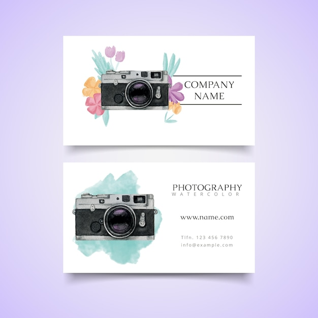 Watercolor fotostudio kaart met polaroid camera Gratis Vector