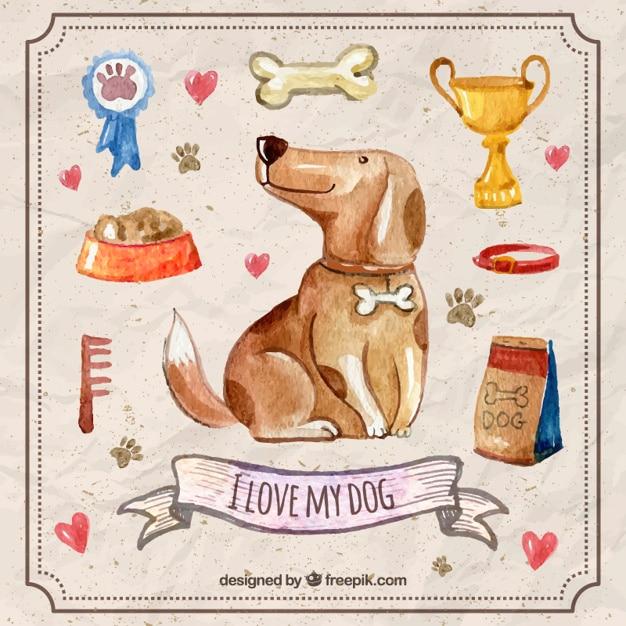 Watercolor hond met accessoires voor huisdieren Gratis Vector