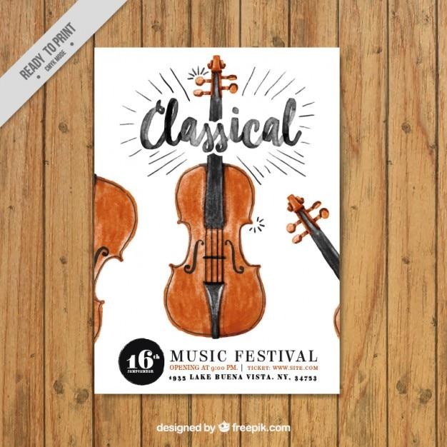 Watercolor klassieke muziek flyer met een viool Gratis Vector