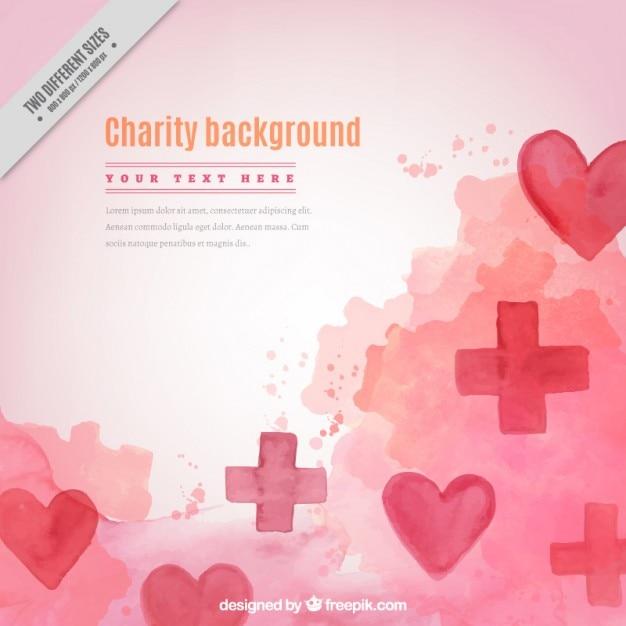 Watercolor liefdadigheid achtergrond met harten en kruisen Gratis Vector