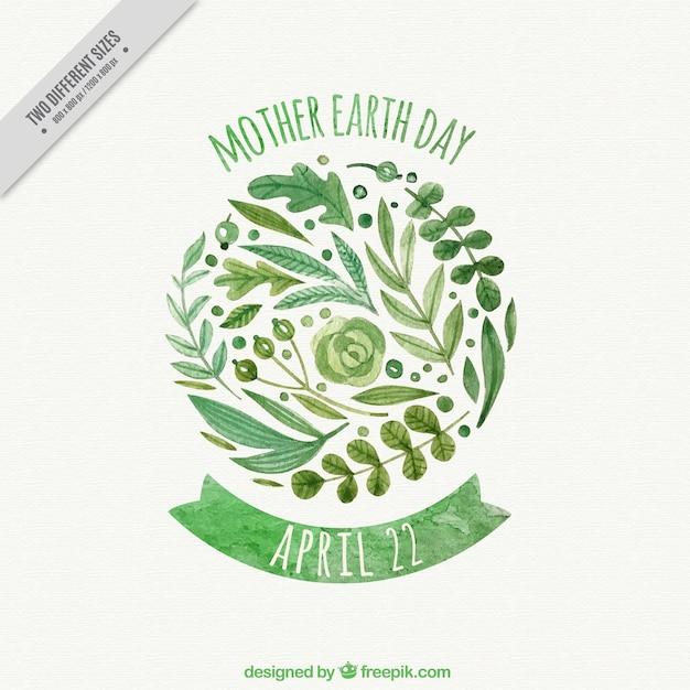 Watercolor moeder aarde dag achtergrond met decoratieve vegetatie Gratis Vector