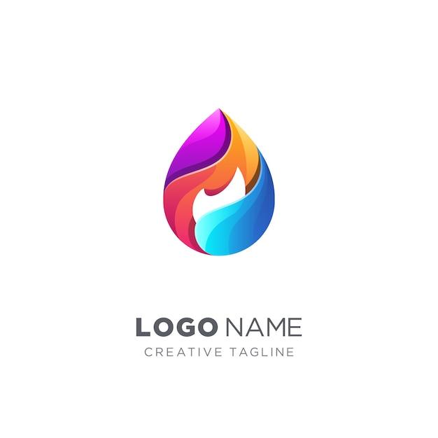 Waterdruppel en vuur logo Premium Vector