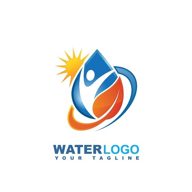 Waterdruppel vector logo met groen blad en hand Premium Vector