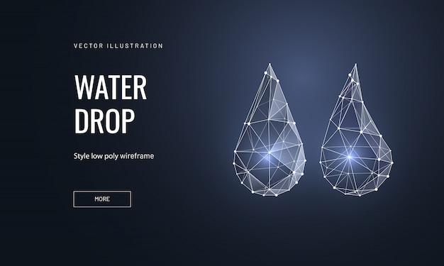 Waterdruppels in veelhoekige wireframe-stijl Premium Vector