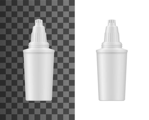 Waterfiltratie werper cartridge realistische mockup. huiswaterbehandeling en ontziltingsfilter Premium Vector