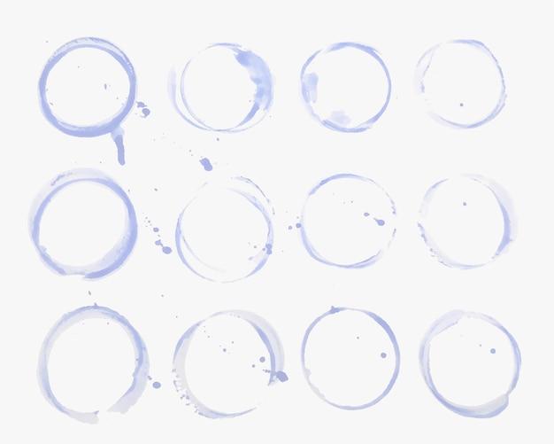 Waterglas of beker vlek textuur set Gratis Vector