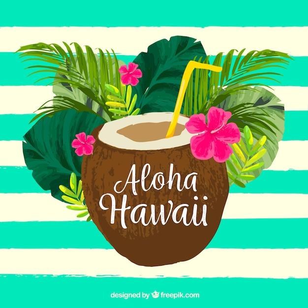 Waterkleurige kokosnoot aloha achtergrond Gratis Vector