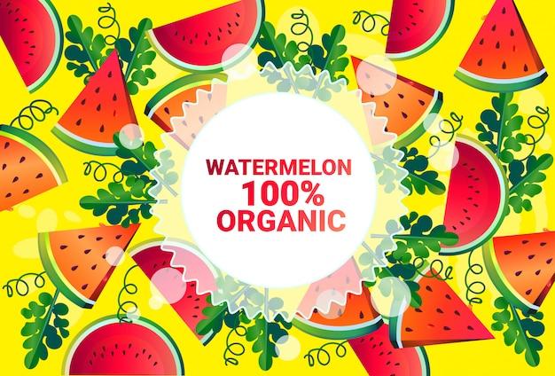 Watermeloen fruit kleurrijke cirkel kopie ruimte organische over vers fruit patroon achtergrond gezonde levensstijl of dieet concept Premium Vector