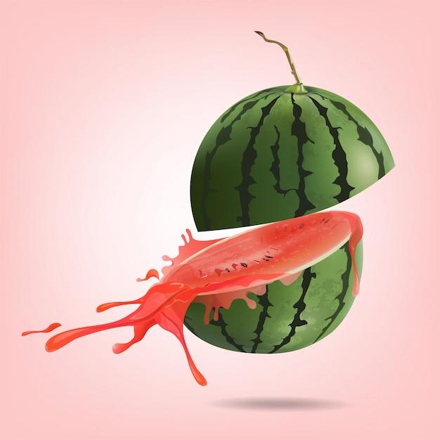 Watermeloen gesneden Premium Vector