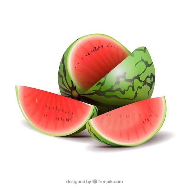 Watermeloen in realistische stijl Gratis Vector
