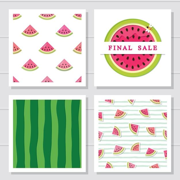 Watermeloen ontwerpset elementen Premium Vector