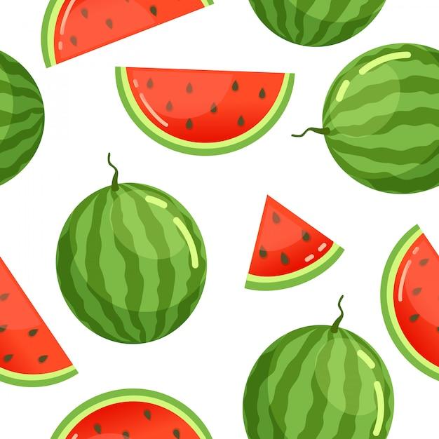 Watermeloen patroon naadloos Premium Vector