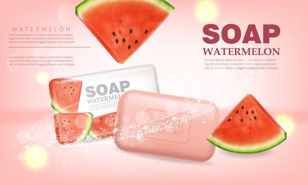 Watermeloen zeep product placement banner Premium Vector
