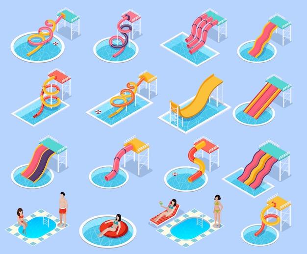Waterpark aquapark isometrische icon set Gratis Vector